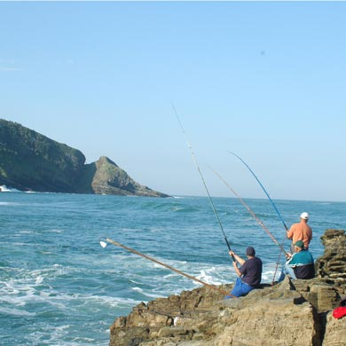 Fishing in Port St Johns - here's a group of anglers at Suckers, one of PSJ's famous spots. The Gap can be seen across the bay